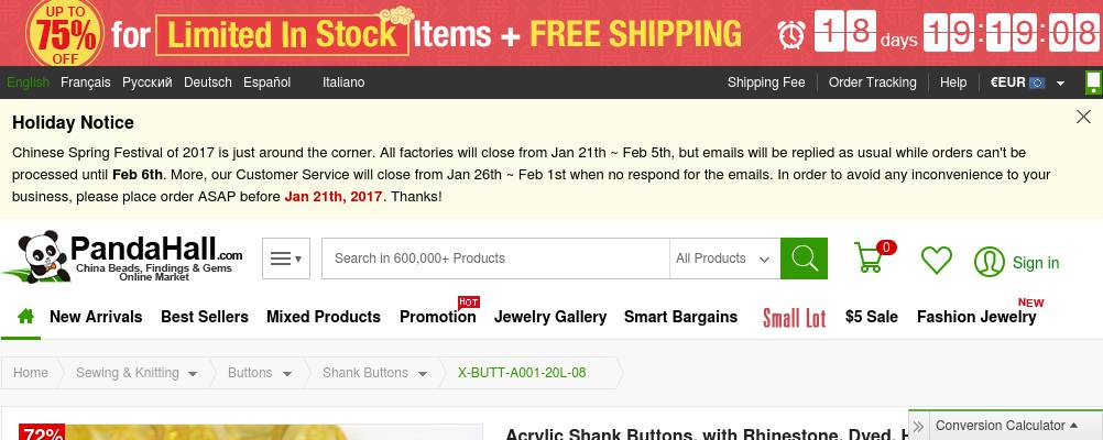 72% OFF Dyed Half Round Gold Acrylic Shank Buttons, with Rhinestone $1.01